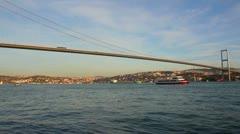 Bridge over the Bosphorus Strait in Istanbul Turkey Stock Footage
