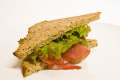 food bread disc eat green ham health red salad - stock photo