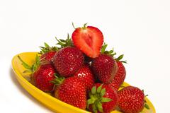 food summer fruit eat fresh green health plate - stock photo