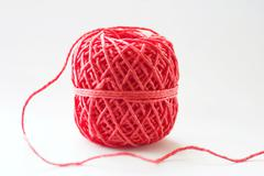 band bind crop red thread cord clew motion white - stock photo