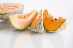 Food fruit diet health melon part sweet vitamin Stock Photos