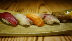 Gourmet restaurant food sushi Japanese Stock Footage