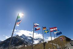 Alps flag panorama country symbol ensigns flags Stock Photos
