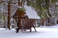 Stock Photo of wooden feeder for wildlife in snowy forest