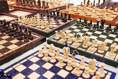 Chess boards for sale at mauerpark flea sunday flea market Stock Photos