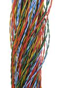 Twisted colored wires in data communication networks - stock photo