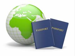 Stock Illustration of world travel. earth and passport on white background. 3d