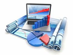 Business analyze. laptop, graph and diagram Stock Illustration