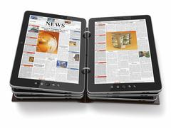 Newspaper or magazine from tablet pc. 3d Stock Illustration