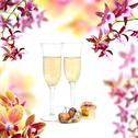 Champagne and orchid Stock Illustration