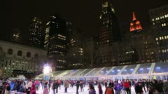 Ice skate rink in the city time-lapse - stock footage