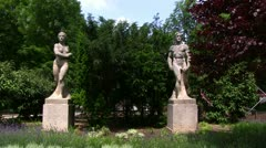 Stone Statues in Park Stock Footage