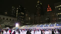 Ice skate rink in the city time lapse Stock Footage