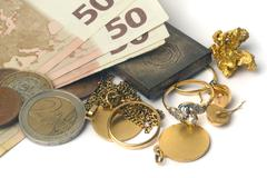 purchase and sale of old jewels - stock photo