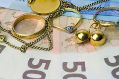 Purchase and sale of old jewels Stock Photos