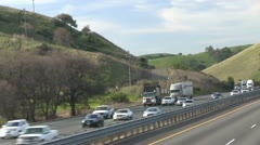Freeway traffic driving, oncoming Stock Footage