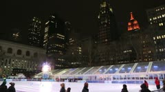 Ice skate rink in the city time-lapse Stock Footage