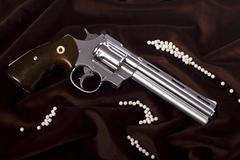 airsoft gun in white - stock photo
