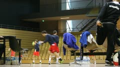 Handball warm up Stock Footage