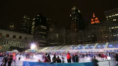 Ice skate rink in the city time lapse - stock footage