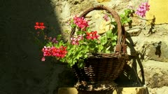 Wicker basket with flowers Stock Footage