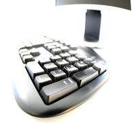 computer technology close up key pad ups closeup - stock photo