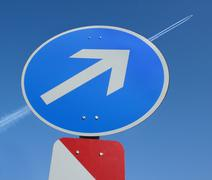 airplane obeying traffic sign air journey plane - stock photo