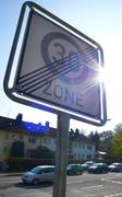 car traffic sign 274 2 end 30 km speed limit - stock photo