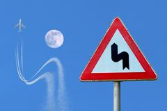 airplane obeying traffic sign avoiding crash air - stock photo