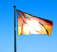 german flag blue sky cloudless airflow wind airy - stock photo