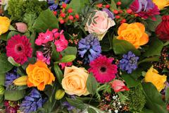 Flower arrangement in bright colors Stock Photos