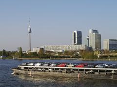 Car vienna danube city austria automobile tower Stock Photos