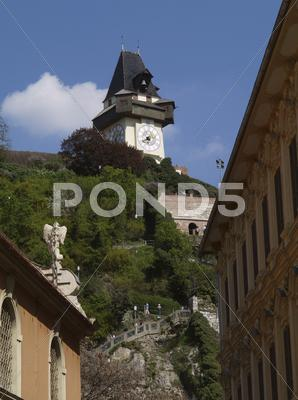 Stock photo of graz building uhrturm austria city tourism trip
