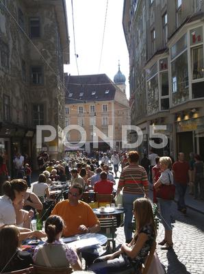 Stock photo of meeting graz old city center austria tourism