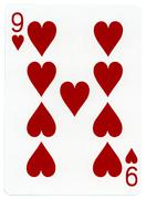 Playing card - nine of hearts Stock Illustration