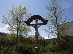 Design logo pattern nature crucifix in austria Stock Photos
