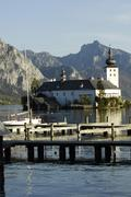 water castle orth austria citadel idyll lake - stock photo