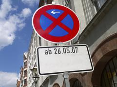 Traffic sign no parking horizontal format road Stock Photos