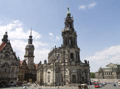 house church hofkirche opera semperoper center - stock photo