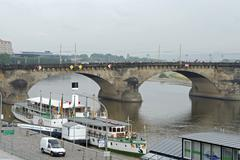 Navy river elbe bridge germany horizontal format Stock Photos