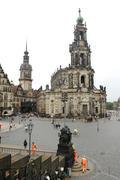 dresden church hofkirche castle theatre square - stock photo