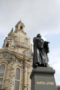 Stock Photo of dresden church statue martin luther baroque