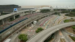 Hong Kong International Airport Taxi Stand and Airport Express Train Stock Footage