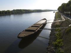 bratislava danube boat horizontal format idyll - stock photo