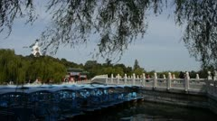 A row of blue boats on lake,swing willow in China Beijing Beihai Park. Stock Footage