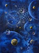 abstract picture with planets and bubbles - stock photo