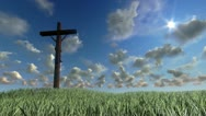 Stock Video Footage of Jesus on Cross, meadow and timelapse clouds