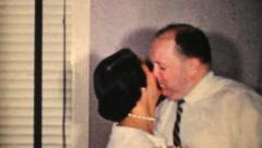 Couple Kissing At New Years Party-1964 Vintage 8mm film Stock Footage