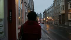 Scenes from Quebec City - girl walks in old Quebec in slow motion. Stock Footage