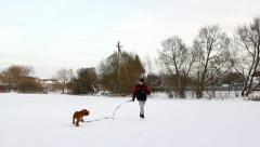 Boy running with his dog in nature in winter, English Cocker Spaniel Stock Footage